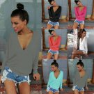 New Womens V Neck Knitted Sweater Ladies Loose Long Sleeve Casual Jumper Tops