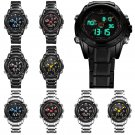 NAVIFORCE Men's Watch Wrist Dual Time LED Digital Analog Quartz Movt Steel Band