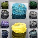 Stylish Leather Wrap Wristband Cuff Punk Crystal Rhinestone Bracelet Bangle
