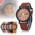 Natural Bamboo Wood PU Band Watches Men's Women's Quartz Wooden Wristwatch Gift