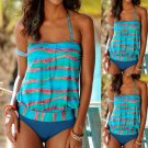 Women Fashion Beachwear Halter Striped Swimsuit Two Piece Tankini Swimwear