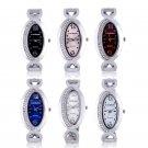 Luxury Women Oval Dial Crystal Rhinestone Bangle Bracelet Analog Wrist Watch