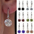 1 Pair Fashion Silver Plated Crystal Rhinestone Ear Stud Dangle Hook Earrings