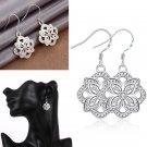 Women Fashion Silver Plated Zircon Crystal Flower Dangle Hook Earrings Jewelry