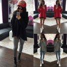 Women's Cowl Neck Hoodie Sweatshirt Sweater Casual Hooded Coat Pullover Jumper