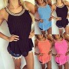 Summer New Ladies Sleeveless Chiffon Long Tops Shirt Blouse Fashion Chain Tops