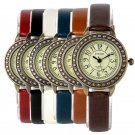 Retro Leather Strap Small Dial Watch Quartz Ladies Women Slim Wristwatch