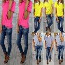 Womens Summer Fashion Loose Chiffon Short Sleeve Top Shirt Blouse