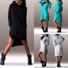 Women Winter Hooded Dress Asymmetric Jumper Long Sweater Tops Ladies Sweatshirt