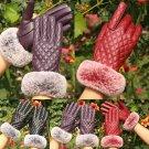 Women Lady fashion Black Leather Gloves Autumn Winter Warm Rabbit Fur Mittens