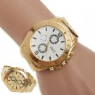 Men's Stainless Steel Sport Quartz Hour Gold Bracelet Gold Dial Wrist Watches