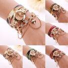 Woman Bracelet Watch Leather Rhinestone Rivet Band Analog Quartz Wristwatch Gift