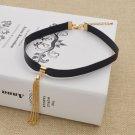 Black Leather Choker Bib Statement Chunky Chain Collar Necklace Women Jewelry
