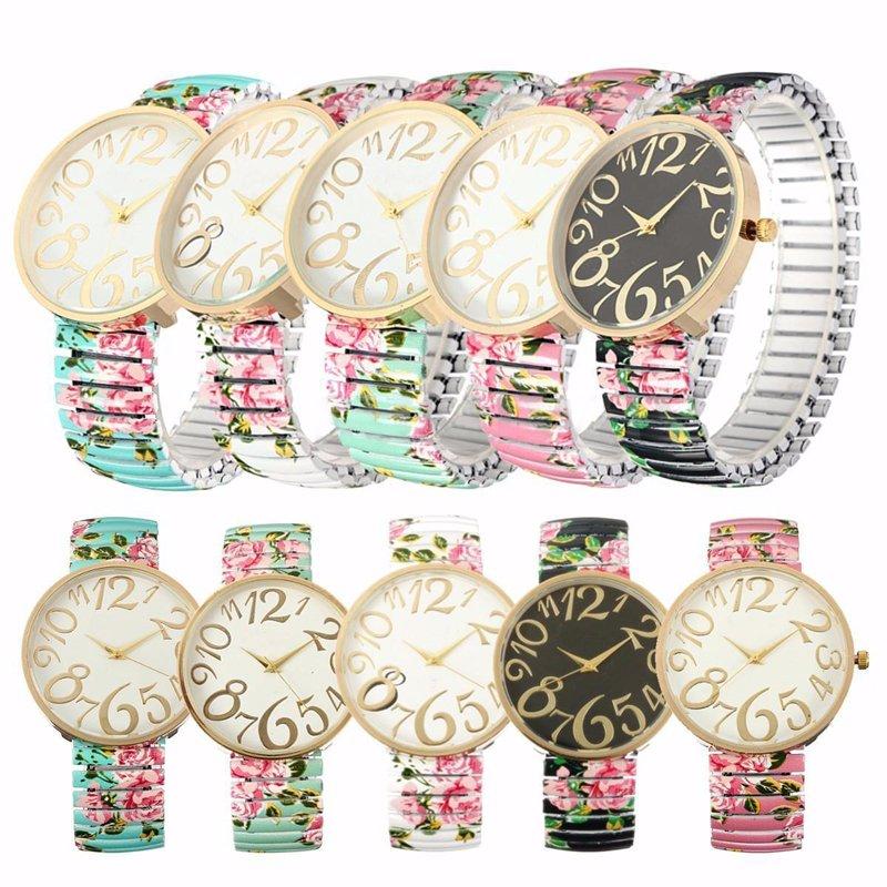 Floral Vintage Women Elastic Gold Case Strap Quartz Analog Wrist Watch Bracelet