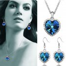 Hot Elegant Women Lady Heart Of Ocean Titanic Blue Crystal Pendant Necklace