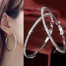 Fashion Women Silver Round Big Large Hoop Huggie Loop Dangle Earrings Jewelry