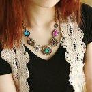 Women Crystal Flower Pendant Choker Chain Bib Statement Necklace Fashion Jewelry
