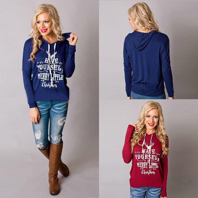 Women Cotton Christmas Reindeer Sweatshirt Hoodie Pullover Blouse T-Shirt Tops