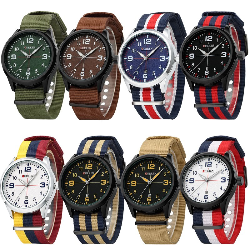 Fashion Men's Boy Nylon Canvas Wrist Date Quartz Analog Army Casual Sport Watch