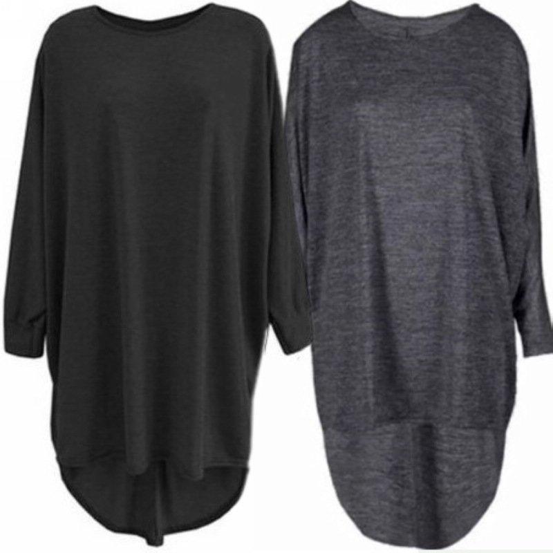 Women High Low Dip Hem Baggy Long Batwing Oversized Casual Wear Long Top S-XL