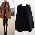 Women Ladies Batwing Wool Poncho Winter Warm Coat Jacket Loose Cloak Cape Parka