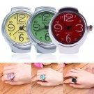 Womens Girls Sleek Brilliant Steel Round Dial Elastic Quartz Finger Ring Watch