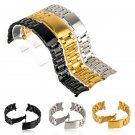18/20/22/24mm Stainless Steel Solid Links Watch Band Strap Bracelet Curved End