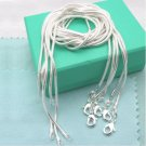 Hot wholesale solid Silver lots 5 pcs 1mm snake chain Necklace 16-30inch
