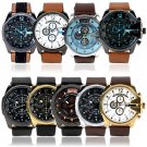New Fashion Oversize Face Big Mens Leather Strap Sport Army Quartz Wrist Watches