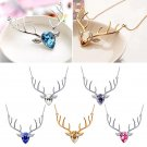 Chic CZ Crystal Charm Elk Antler Deer Head Pendant Chain Necklace Xmas Gift NEW