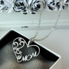 """New """"Mom"""" Charm Silver Crystal Heart Pendant Necklace for Love Mother's Day Gift"""
