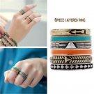 Vintage 6PCS/Set Silver Punk Ring Womens Retro Geometry Finger Rings Boho Style
