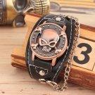 Retro Steampunk Skull Faux Leather Band Chain Quartz Wrist Watch Mens Gift Black