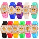 Women Silicone Strap Watch Casual Owl Pattern Analog Quartz Dress Wrist Watch