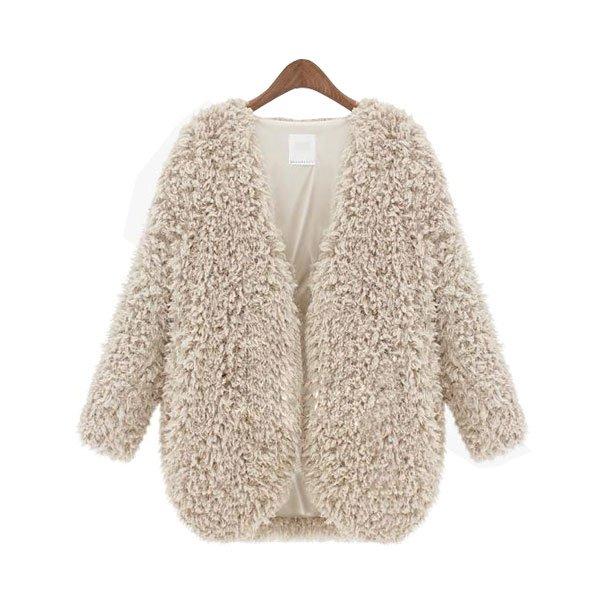 New Womens Fashion Coat Fluffy Jacket Winter Warm Outwear Long Sleeve Cardigan