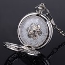 Brass Steampunk Skeleton Mechanical Pocket Watch Chain Vintage Men's Gift