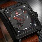 Naviforce Men Square Dial Date Military Waterproof Leather Quartz Wrist Watch