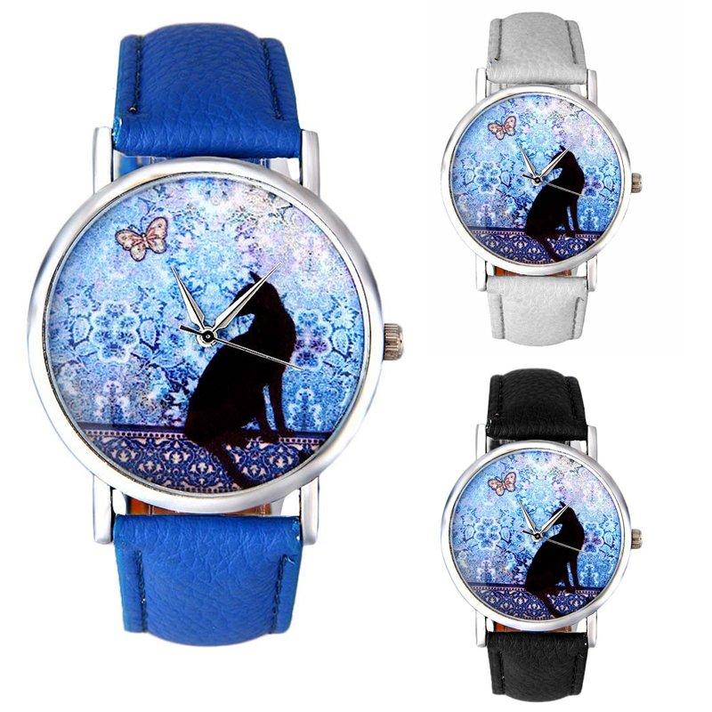 Vogue Women Girl Cat Pattern Watch Leather Band Analog Quartz Casual Wrist Watch