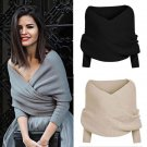 Women Off Shoulder Long Sleeve Sweater Jumper Crop Tops Pullover Knitted Cape