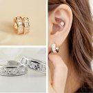 1Pair Womens Stainless Steel Rhinestone Crystal Huggie Hoop Studs Earrings Gift
