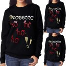 New Womens Ladies Novelty Christmas Prosecco Jumper Xmas Sweater Top S-XL