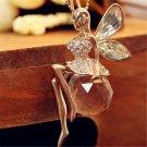 Fashion Retro Dragonfly Angel Tibetan Silver Crystal Pendant Chain Long Necklace