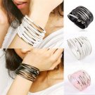 Multilayer Womens Cuff Bangle Gothic Punk Chain Leather Bracelet Jewelry