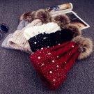 Fashion Women Lady Faux Fur Ball Winter Warm Crochet Knitted Beanie Hat Cap