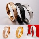 Men Women Rose Gold Silver Frosted Stainless Steel Wedding Band Ring Couple Ring