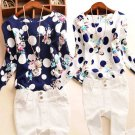 Women's Work Shirts Fashion Dot & Flower Printed Blouses Lady Casual Slim Tops