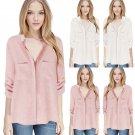 Women Loose V Neck Buttons Down Shirt Long Sleeve T-Shirt Tee Tops Blouse Plus