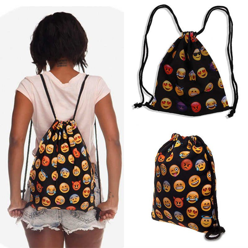 Fashion Unisex Drawstring Backpack Bag 3D Emoji Print Casual Sport Camp Bags New