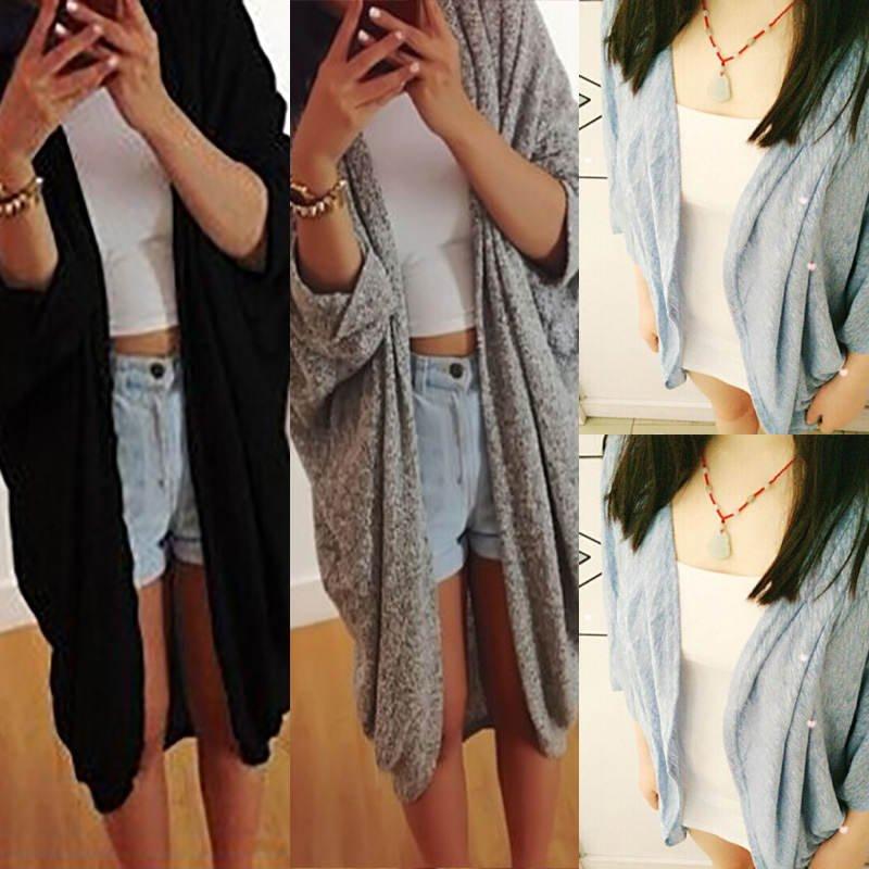 Autumn Women Casual Long Sleeve Cardigan Knit Sweater Knitwear Coat Outwear Tops
