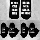 New Women's Men's If You can read this Bring Me a Glass of Wine Black Socks Chic